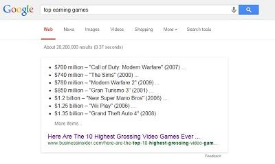 game earnings