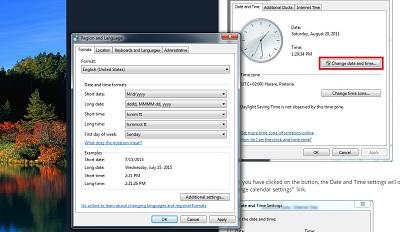 calendar settings windows 7